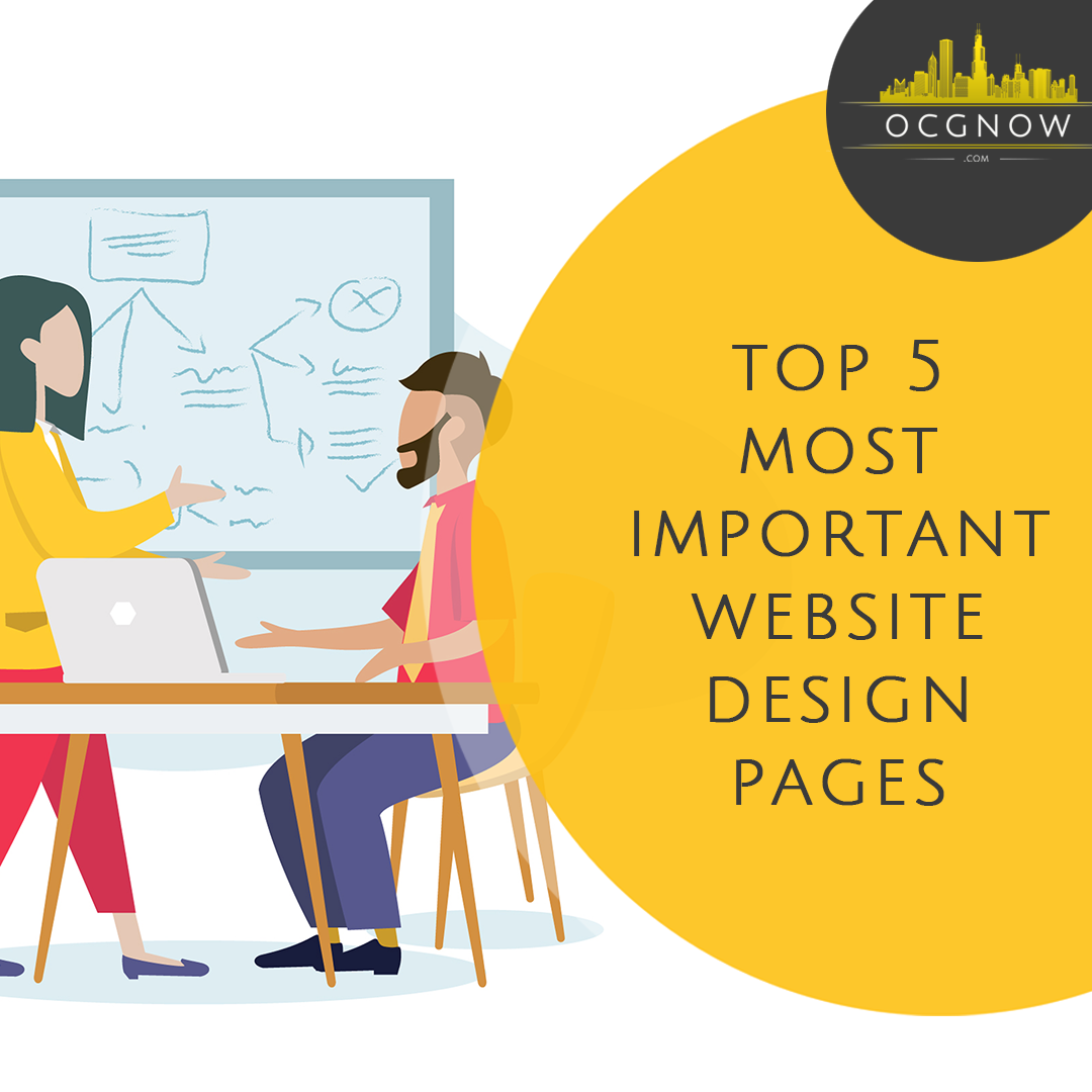 Graphic design depicting marketing team discussing most important pages of a website design
