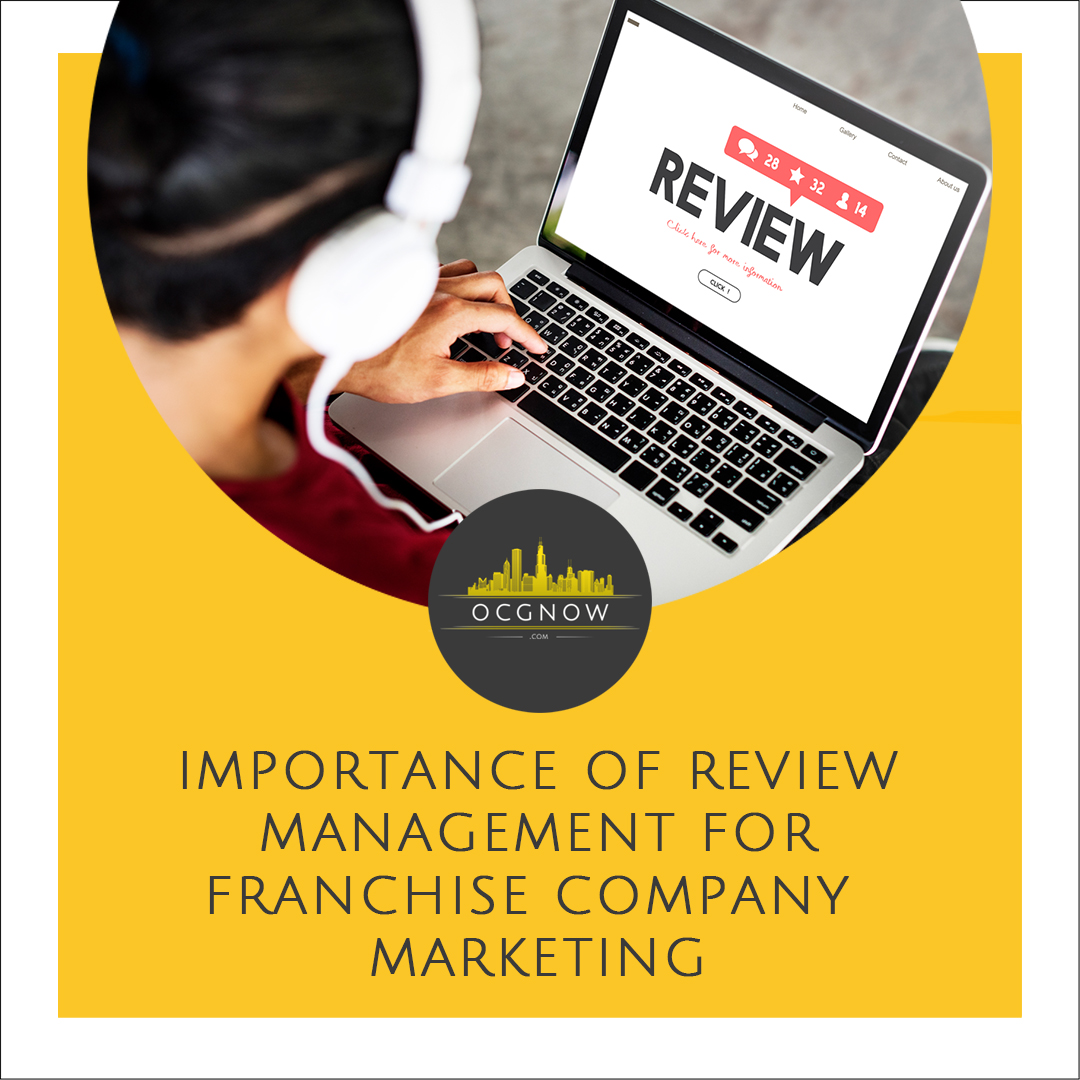 Customer on laptop giving online review depicting importance of review management for franchise companies